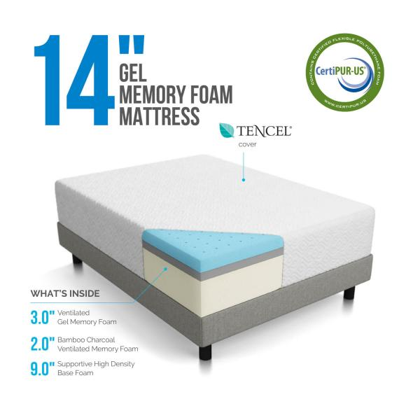 separation shoes 97518 93243 14 Inch Gel Memory Foam Mattress