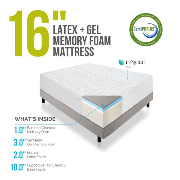 16 Inch Natural Latex Memory Foam Mattress Lucid Mattress