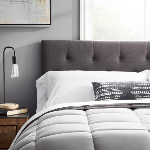 "LUCID Mid-Rise Upholstered Headboard-Adjustable Height from 34/"" to 46/"" Platform Black Twin"