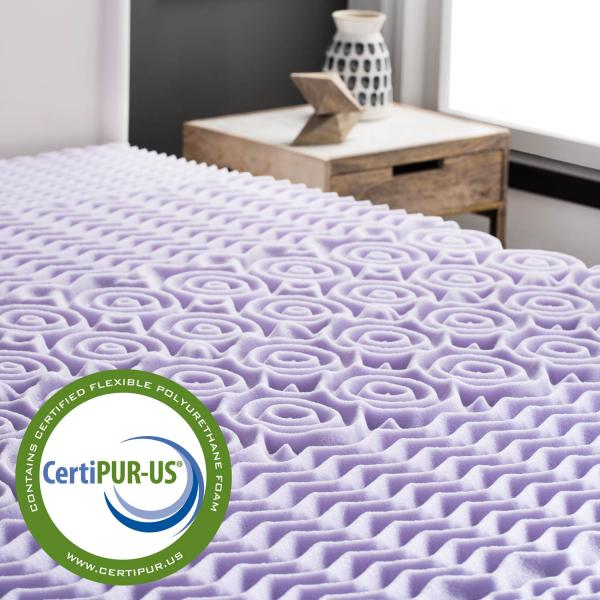 Lucid Zoned Lavender Memory Foam Mattress Topper